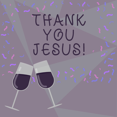 Text sign showing Thank You Jesus. Conceptual photo Being grateful for what the Lord has given you Religious Filled Wine Glass Toasting for Celebration with Scattered Confetti photo 스톡 콘텐츠