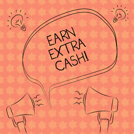 Writing note showing Earn Extra Cash. Business photo showcasing Make additional money more incomes bonus revenue benefits Freehand Outline Sketch of Speech Bubble Megaphone Idea Icon Foto de archivo