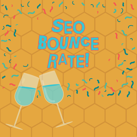 Text sign showing Seo Bounce Rate. Conceptual photo Search engine optimization visitors navigate off the site Filled Wine Glass Toasting for Celebration with Scattered Confetti photo