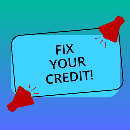 Handwriting text writing Fix Your Credit. Concept meaning Keep balances low on credit cards and other credit Two Megaphone with Sound icon on Blank Color Outlined Rectangular Shape Stockfoto