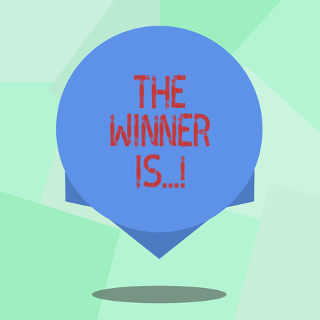 Conceptual hand writing showing The Winner Is . Business photo showcasing Announcing who won a contest Victory on a competition Blank Color Circle with Shadow and Design at the Edge