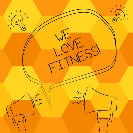 Handwriting text writing We Love Fitness. Concept meaning Having affection for sport exercises good healthy diet Freehand Outline Sketch of Blank Speech Bubble Megaphone Sound Idea Icon Banco de Imagens - 117201636