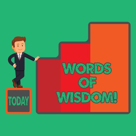 Text sign showing Words Of Wisdom. Conceptual photo Expert advices orientation from somebody with knowledge