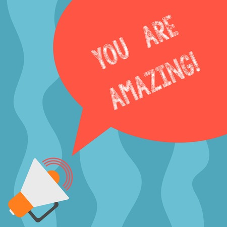 Conceptual hand writing showing You Are Amazing. Business photo text To have a great opinion about someone Admiration Wonder Megaphone with Sound Volume and Blank Color Speech Bubble