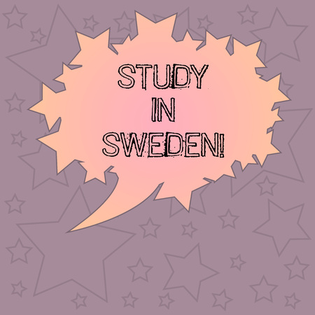 Handwriting text writing Study In Sweden. Concept meaning Travel to European country for educational purposes Blank Oval Color Speech Bubble with Stars as Outline photo Text Space