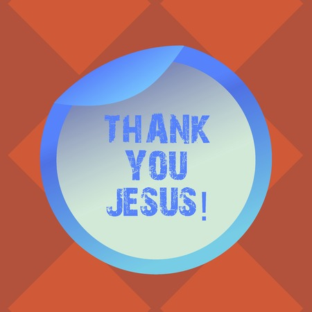 Handwriting text writing Thank You Jesus. Concept meaning Being grateful for what the Lord has given you Religious Bottle Packaging Blank Lid Carton Container Easy to Open Foil Seal Cover