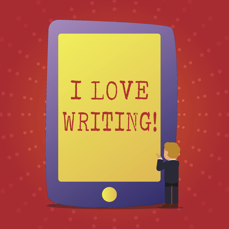 Text sign showing I Love Writing. Conceptual photo Affection for creating novels journals inspirational author