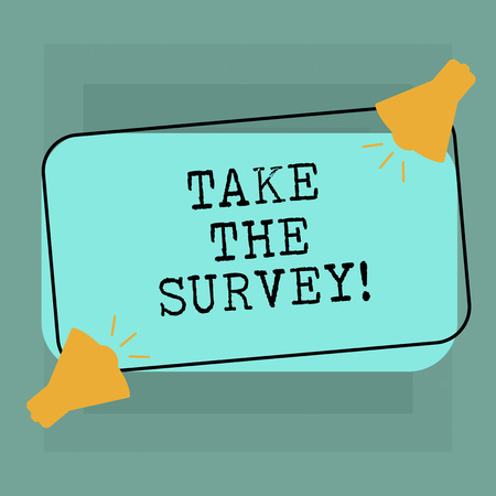 Conceptual hand writing showing Take The Survey. Business photo text Fill in the questionnaire to give feedback from service Two Megaphone with Sound icon on Color Outlined Rectangular Shape