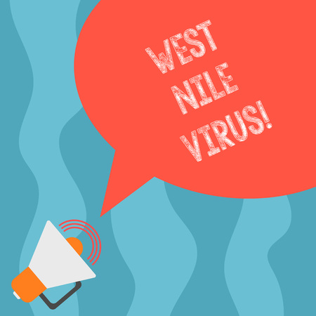 Conceptual hand writing showing West Nile Virus. Business photo text Viral infection cause typically spread by mosquitoes Megaphone with Sound Volume and Blank Color Speech Bubble Stock Photo