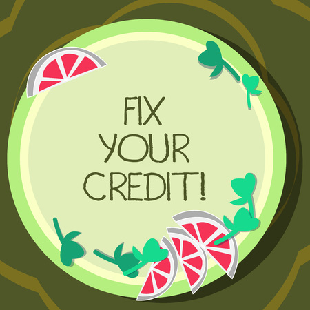 Conceptual hand writing showing Fix Your Credit. Business photo showcasing Keep balances low on credit cards and other credit Cutouts of Sliced Lime Wedge and Herb Leaves on Color Plate