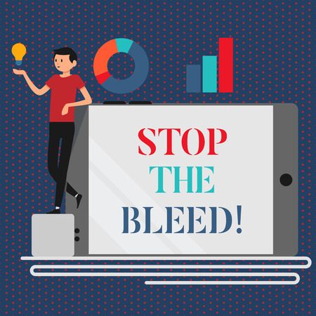 Conceptual hand writing showing Stop The Bleed. Business photo showcasing Medical treatment for stopping the blood running from injury Stock Photo - 117200968