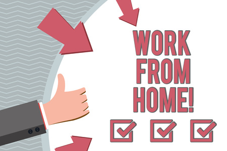 Conceptual hand writing showing Work From Home. Business photo showcasing Freelance job working on your house convenient technology
