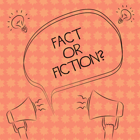 Writing note showing Fact Or Fiction. Business photo showcasing Is it true or is false doubt if something is real authentic Freehand Outline Sketch of Speech Bubble Megaphone Idea Icon