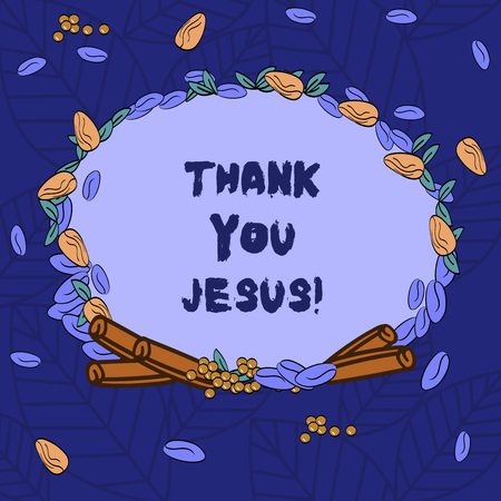 Word writing text Thank You Jesus. Business concept for Being grateful for what the Lord has given you Religious Wreath Made of Different Color Seeds Leaves and Rolled Cinnamon photo 스톡 콘텐츠