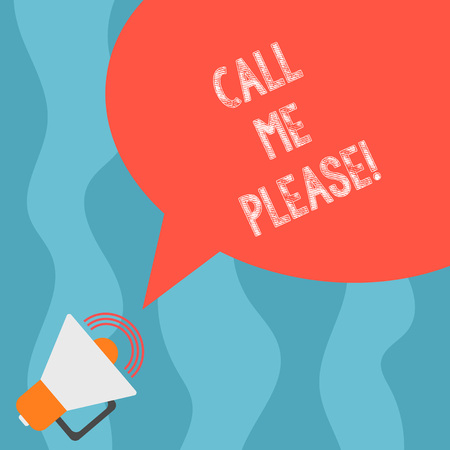Conceptual hand writing showing Call Me Please. Business photo text Asking for communication by telephone to talk about something Megaphone with Sound Volume and Blank Color Speech Bubble Reklamní fotografie