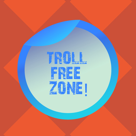 Handwriting text writing Troll Free Zone. Concept meaning Social network where tolerance and good behavior is a policy Bottle Packaging Blank Lid Carton Container Easy to Open Foil Seal Cover 免版税图像