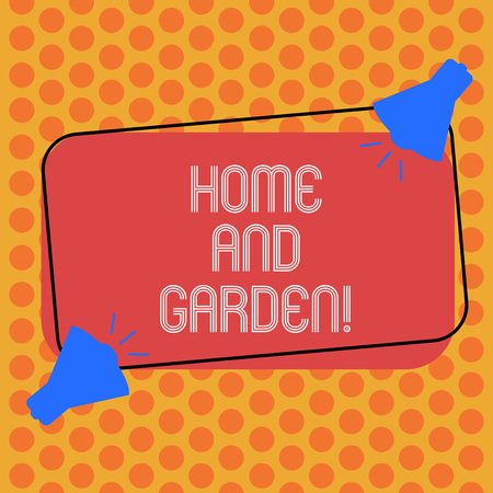 Writing note showing Home And Garden. Business photo showcasing Gardening and house activities hobbies agriculture Two Megaphone with Sound icon on Color Outlined Rectangular Shape Banco de Imagens