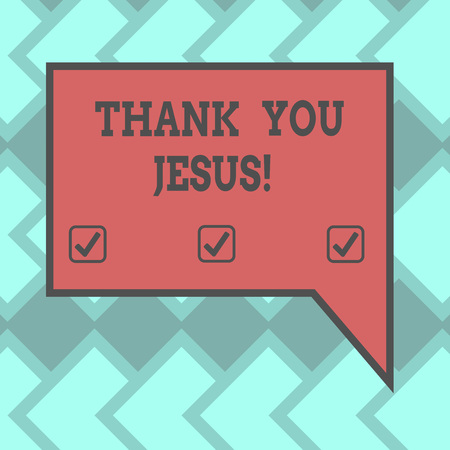 Text sign showing Thank You Jesus. Conceptual photo Being grateful for what the Lord has given you Religious Blank Rectangular Color Speech Bubble with Border photo Right Hand