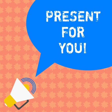 Writing note showing Present For You. Business photo showcasing To receive a gift surprise special occasion appreciation Megaphone with Sound Volume Icon and Blank Color Speech Bubble photo Stock Photo