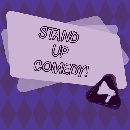 Conceptual hand writing showing Stand Up Comedy. Business photo showcasing Comedian performing speaking in front of live audience Megaphone Inside Triangle and Rectangle for Announcement Stock Photo