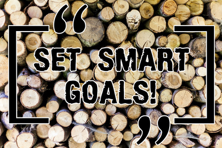 Word writing text Set Smart Goals. Business concept for Establish achievable objectives Make good business plans Wooden background vintage wood wild message ideas intentions thoughts