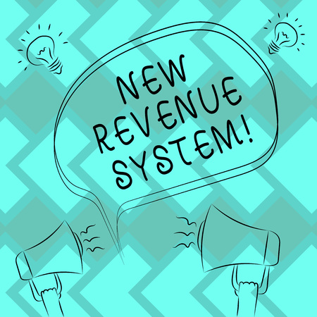 Text sign showing New Revenue System. Conceptual photo income business got from its activities usually sales Freehand Outline Sketch of Blank Speech Bubble Megaphone Sound Idea Icon Stock Photo