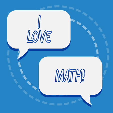 Writing note showing I Love Math. Business photo showcasing To like a lot doing calculations mathematics number geek demonstrating