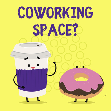 Text sign showing Coworking Spacequestion. Conceptual photo Business services providing shared offices to work 版權商用圖片