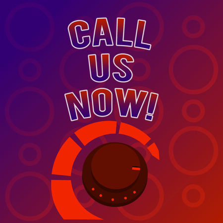 Text sign showing Call Us Now. Conceptual photo Communicate by telephone to contact help desk support assistance Stock Photo