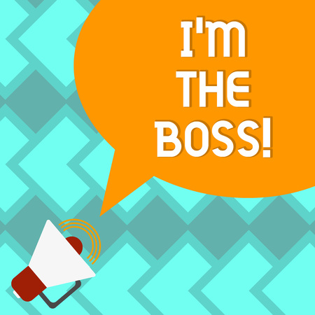 Text sign showing I M The Boss. Conceptual photo Be the one that gives orders on a job or particular situation Megaphone with Sound Volume Icon and Blank Color Speech Bubble photo 写真素材
