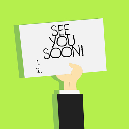 Writing note showing See You Soon. Business photo showcasing Farewell we will meet again in a short period of time Stock Photo