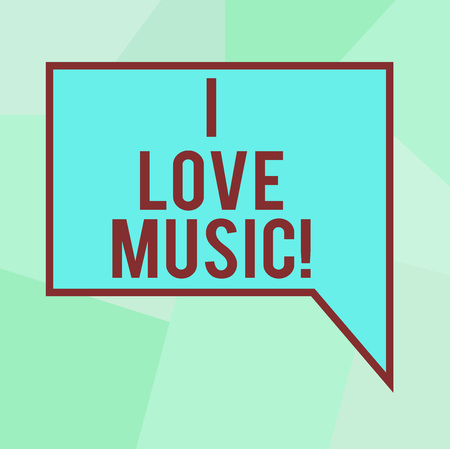 Conceptual hand writing showing I Love Music. Business photo text Having affection for good sounds lyric singers musicians Blank Deformed Color Round Shape with Small Circles