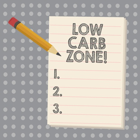 Conceptual hand writing showing Low Carb Zone. Business photo showcasing Healthy diet for losing weight eating more proteins sugar free Imagens