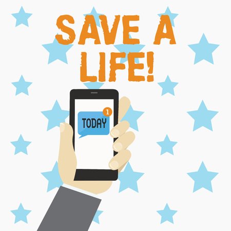 Conceptual hand writing showing Save A Life. Business photo showcasing Help assistance saving someone from a medical problem or injury