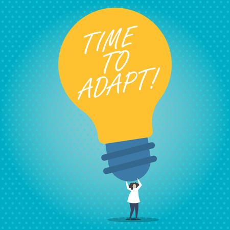 Tiempo de adaptación del texto de escritura a mano. Concepto Significado Momento para adaptarse a los cambios Adoptar la innovación Foto de archivo