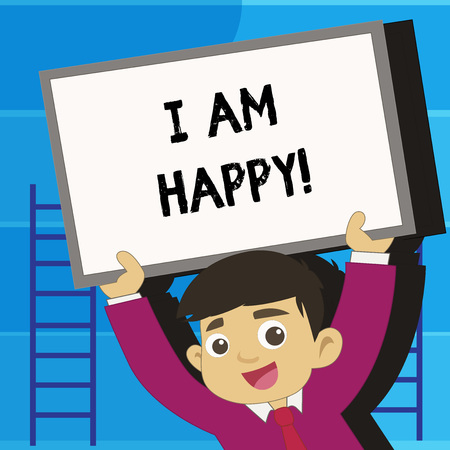 Writing note showing I Am Happy. Business photo showcasing To have a fulfilled life full of love good job happiness Фото со стока - 117834837