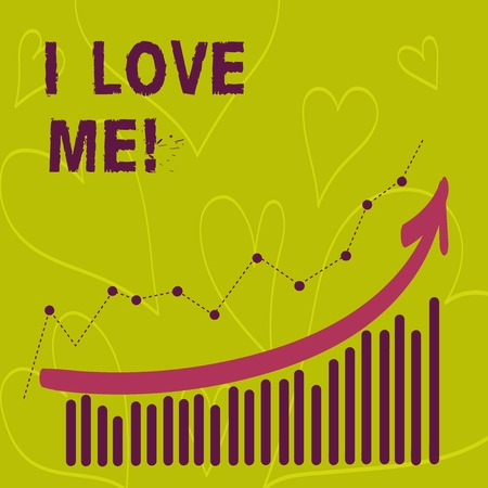Writing note showing I Love Me. Business photo showcasing To have affection good feelings for oneself selfacceptance Banco de Imagens