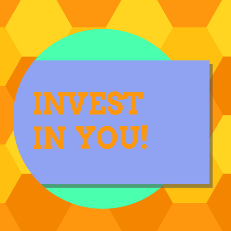 Handwriting text Invest In You. Concept meaning Take care of yourself buy things for you Motivation Inspire Blank Rectangular Color Shape with Shadow Coming Out from a Circle photo Banco de Imagens