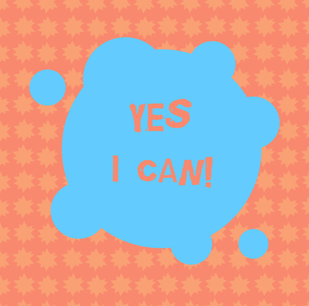 Writing note showing Yes I Can. Business photo showcasing Motivation to do something have the enough strength to keep going Blank Deformed Color Round Shape with Small Circles Abstract photo Stock Photo
