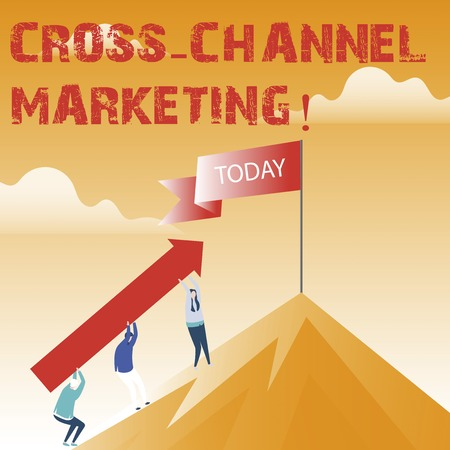 Text sign showing Cross Channel Marketing. Conceptual photo Engaging with customer across every digital channel Imagens