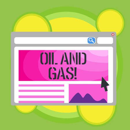 Writing note showing Oil And Gas. Business photo showcasing Exploration Extraction Refining Marketing petroleum products 写真素材