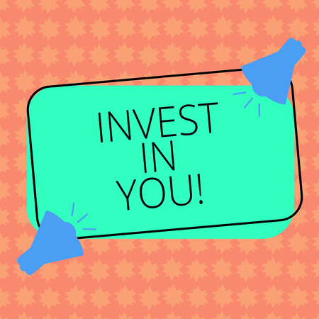 Writing note showingInvest In You. Business photo showcasing Take care of yourself buy things for you Motivation Inspire Two Megaphone with Sound icon on Color Outlined Rectangular Shape