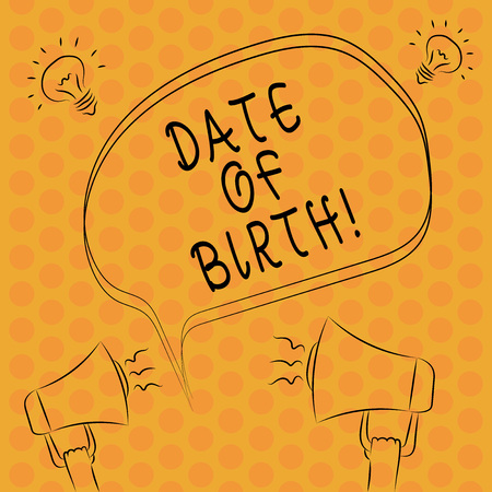 Writing note showingDate Of Birth. Business photo showcasing Day when someone is born new baby coming pregnant lady Freehand Outline Sketch of Speech Bubble Megaphone Idea Icon 版權商用圖片