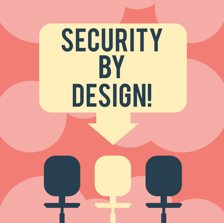 Writing note showing Security By Design. Business photo showcasing software has been designed from foundation to safe Space Color Arrow Pointing to One of the Three Swivel Chairs