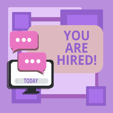 Conceptual hand writing showing You Are Hired. Business photo text Recruitment being selected for a job the right candidate Stock Photo