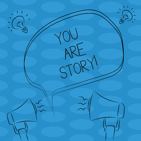 Word writing text You Are Story. Business concept for Your stories count and are important worth to tell everybody Freehand Outline Sketch of Blank Speech Bubble Megaphone Sound Idea Icon Reklamní fotografie