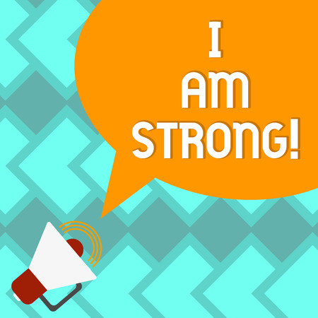 Text sign showing I Am Strong. Conceptual photo Have great strength being healthy powerful achieving everything Megaphone with Sound Volume Icon and Blank Color Speech Bubble photo 写真素材