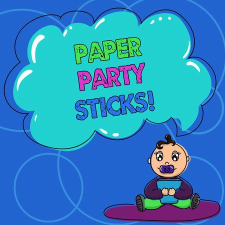Conceptual hand writing showing Paper Party Sticks. Business photo text colored shapes of hard paper used create emojis Baby Sitting on Rug with Pacifier Book and Cloud Speech Bubble