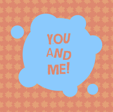 Writing note showing You And Me. Business photo showcasing Couple Relationship compromise Expressing roanalysistic feelings Blank Deformed Color Round Shape with Small Circles Abstract photo Imagens