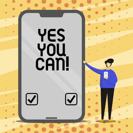 Conceptual hand writing showing Yes You Can. Business photo text Positivity Encouragement Persuade Dare Confidence Uphold